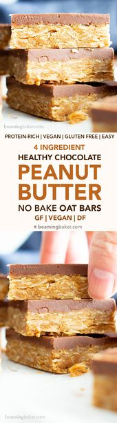 4 Ingredient Healthy No Bake Peanut Butter Cup Oat…