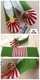 Easy Knitting Christmas Slippers Free Knitting Pattern Easy Knitting Chri …  – Strick