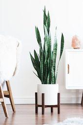 Mitte des Jahrhunderts moderne Pflanze Stand mit quadratischen Beinen, Pflanzer Stand, handge…