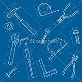 A Vector Illustration Of A Tools Background Made To Look Like A Blueprints Illustration Vector Illustration