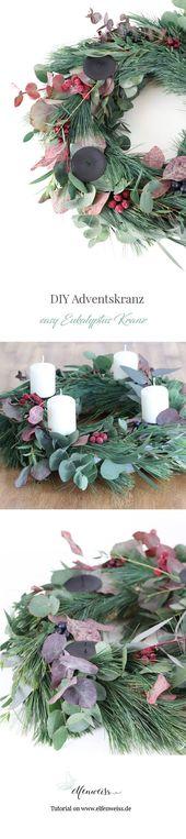 DIY Eukalyptus Kranz & Adventskranz   – elfenweiss – DIY, Inspiration & Interior