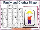 ESL Kleidung und Familie Bingo-Spiel. Ich weiß nicht, wie ich auf einen Bin gekommen bin … – esl clothes unit