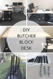 DIY Butcher Block Desk. Bauen Sie einen L-förmigen Schreibtisch mit Rohrverbindungsstücken und etwas Holz …