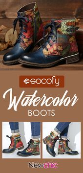 【56% off】SOCOFY Womens Watercolor Rose Real Leather-based Zipper Lace Up Flat B…