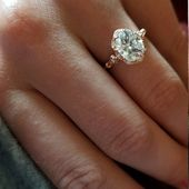 Engagement ring halo rose gold with lab grown diamond or Moissanite center vintage style natural diamonds accents Forever One or IGI cert   – Jewelry