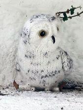 Modèle de tricot gratuit pour Snowy Owl – Hibou doudou tricoté à plat mais joint en …