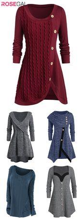 Rosegal plus size Herbst Pullover Outfits Frauen Herbst Mode Strickjacken Ideen   – Nähideen