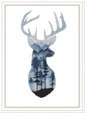 Cross Stitch Watercolor pattern Deer Watercolor Animals Counted Cross Stitch Modern cross stitch PDF Pattern Download room wall decor