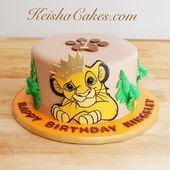 Young Simba first birthday cake. Great for a Lion King themed party. Visit www.k…