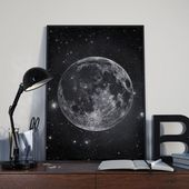 Moon and Stars, Full Moon Art Print, Astronomy Poster, Black and White, Printable Astronomy Gift, Modern Wall Art Decor, Luna Print