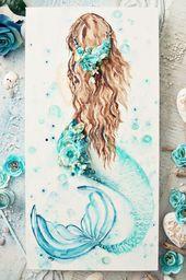 Ocean Nursery Decor Girl Nautical Art Personalized Baby Girl Name Print Mermaid Bedroom Print Set 6 Under The Sea Wall Decor Ocean Animals