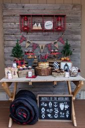 The rustic dessert table at this  Lumberjack birthday party is so cool! Love the…