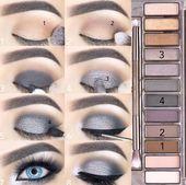schminke rauchige augen party blaue augen blues silbergrau #makeup – damenmode -… – Schönheit Make-up