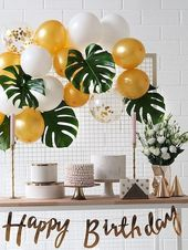 Artificial Tropical Leaf 5pcs & Decorative Balloon 15pcs Color:Multicolor Compos…