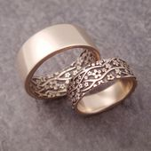 White Gold Wedding Band Set Cherry Blossom Womens Wedding Ring Set Mens Wedding Ring Womens Wedding Band 14k White Gold Floral Wedding Band