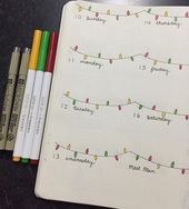Bullet journal weekly layout, one paged layout, Christmas lights drawing, simple… – Home Decor