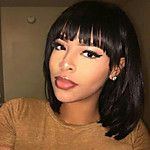 Human Hair Capless Wigs Human Hair Straight / kinky Straight Pixie Cut / Short Hairstyles 2019 / With Bangs Side Part Short Capless Wig Women's 20...