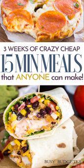 three Weeks of Low-cost Dinners, prepared in below 15 minutes