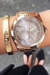 Die Uhr, die jedes Outfit glamourös aussehen lässt. Fossil