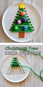 #ChristmasTree #DIY De l'artisanat de Noël pour que les enfants se laissent aller facilem…