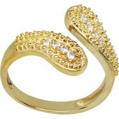 FreshTrends Flower Vine CZ 14K White Gold Toe Ring