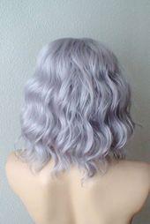 EtsyPastel Perücke. Lace Front Perücke. Kurze Perücke. Graue Haare