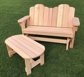 """Comfortable 48"""" Handcrafted Red Cedar Gliding Bench for Two"""