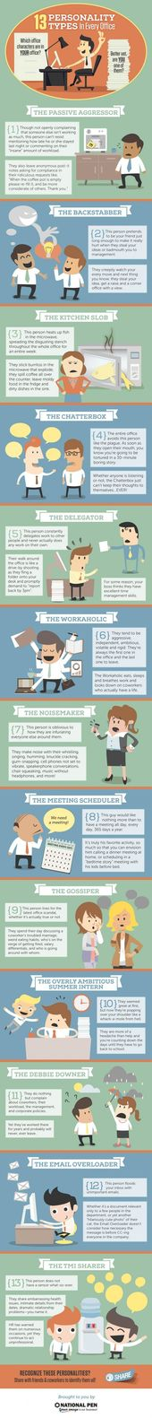13 Personality Types in Every Office Infographic (Could apply in the classroom, …