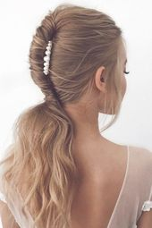 24 Pony Tail Hairstyles Wedding Party Perfect Ideas ❤ pony tail hairstyles alagan swept with pearls on medium hair lee4you #weddingforward #wedding ...