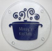 Personalized round glass cutting board, trivet, cheese board or decoration