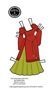A Curvy Fantasy Printable Paper Doll's Autumnal Dress