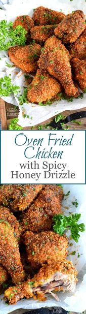Oven Fried Chicken with Spicy Honey Drizzle – Lord Byron's Kitchen  #oven #fried…