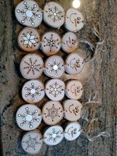 Wood Burned Snowman Christmas Ornaments — Stacked Snowman Ornaments/Gift Tags