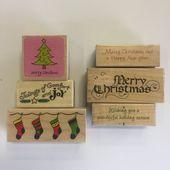 Weihnachtsfeiertags-Stempel-Holz-Block-verschiedene Größen-Los von 6 – Products