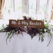 Mr and Mrs, established hand painted wooden wedding sign, top table sign