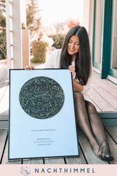 Dieses Poster brauchst du auch! Gestalte deine personalisierte Sternenkarte noch heute >> nachthimmel.shop #nachthimmel #poster #sternenkarte #sternen…