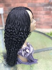 Braided wavy wig.. .The length in the picture is 18inches long .The black wig on display is ready to ship