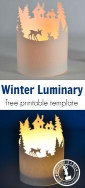 Winter Paper Luminary mit einer frei druckbaren Vorlage
