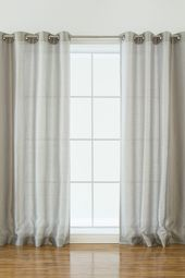 Best Home Fashion Inc.   Solid Faux Silk Curtains – Set of 2 – Grey