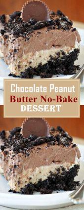 Chocolate Peanut Butter No-Bake Dessert #dessertre…
