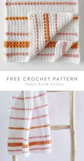 Baby Blanket Free Pattern - Crochet Dainty Stripes Baby Blanket