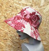 Pink cotton reversible sun hat, reversible sun hat,wide brim sun hat,hats for women,paisley design f – Products