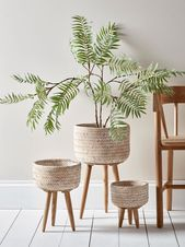 NEW Three Bamboo Standing Planters – Indoor Plant Pots & Planters – Decorati… – Home decor ideas