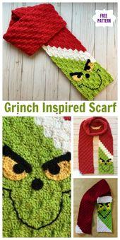 C2C Crochet Grinch Scarf Free Crochet Pattern – Video