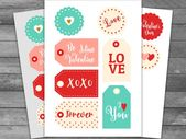 Unique Valentine's Day Printable Tags Label Assorted, Valentine Tag, Tags or Stickers PDF, JPEG, PNG, Valentine gift tag, Favor Tags, Diy