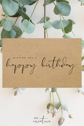 DIY Cuadernos Happy Birthday Wishes | Eco Friendly, Plastic Free Greeting Cards | Typography Card
