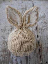 Tejida bebé conejo/recién nacido sombrero, conejo de Pascua, punto de la foto prop, galleta con crema inside orejas, colores personalizados en vano, NB