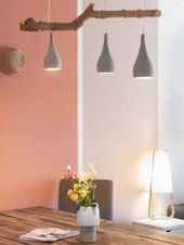 Lampe In Beton Optik Und Mit Holzstamm Selber Machen Ein Neues Diy Fur Das Esszimmer Make A Lamp Diy Furniture Plans Living Decor