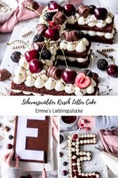 Black Forest Cherry Letter Cake Recipe with Chocolate Biscuit Cherries Sweet …   – Kuchen