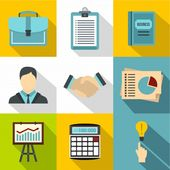 Business icon set, flat style | Premium Vector #Freepik #vector #business #book #technology